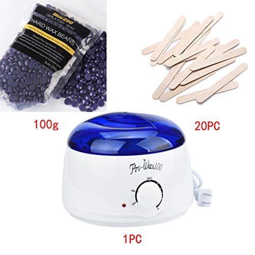 Fuibo Depilatory Set Haarentfernung Bohne Wiping Sticks Heißwachs Wärmer Heater Pot (C)