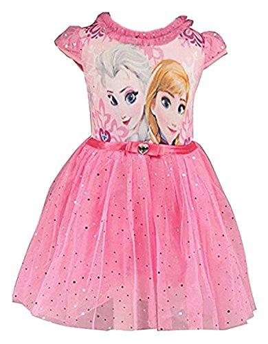 Eyekepper Kind-Maedchen-Karikatur ELSA Prinzessin Cosplay Gitter-Blase Kleid, Rosa Rot, 130cm (Kostüm Wunderschönes Elsa)