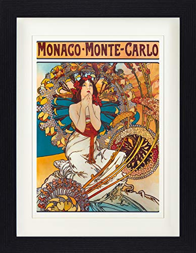 1art1 113820 Alphonse Mucha - Monaco Monte Carlo, 1897 Gerahmtes Poster Für Fans Und Sammler 40 x 30 cm -