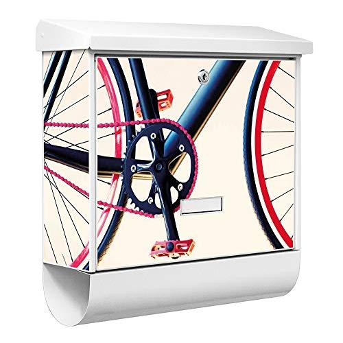 Burg-Wächter Qualitäts-Briefkasten mit Namensschild   Modell Ferrostar 38 x 39 x 12cm   weiß pulverbeschichtet mit Zeitungsfach   Motiv Rennrad   mit Ständer Stahl silber