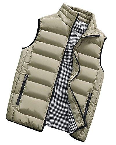 Hombre Invierno Calor Chalecos Sin Mangas De Plumas Chaquetas Acolchado Cazadoras Caqui 3XL