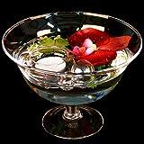 Runde Glas-Schale Roxy 76 Höhe 13cm ø 18cm. Flache Glasschale auf Fuß mit Dekoration Orchidee rot Deko-Schale von Glaskönig