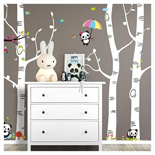 Grandora W5459 Wandtattoo XXL Birkenstämme + Pandabären I weiß (BxH) 281 x 250 cm I Kinderzimmer Baby Aufkleber Wandsticker Wandaufkleber
