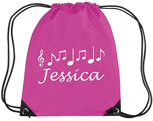 FUCHSIA PERSONALISED MUSIC BAG with name - Music/PE/Drawsting Bag In Fuchsia (PLEASE GO TO ADD GIFT OPTIONS.....ENTER NAME IN FREE GIFT MESSAGE SECTION...AND SAVE)