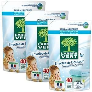 L'ARBRE VERT 27785 Soin du Linge Assouplissant Recharge 40 Lavages 750 ml - Lot de 3