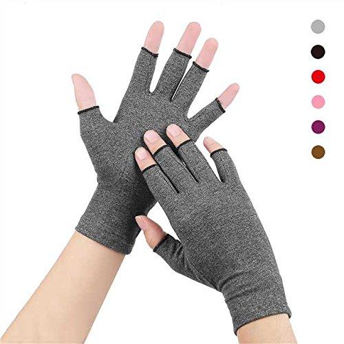 Anti-Arthritis Handschuhe(Paar) Frauen Männer für RSI, Karpaltunnel, Rheumatio, Sehnenscheidenentzündung, Fingerlose Hand Daumen Kompressionshandschuhe Klein Mittel Groß XL für Schmerzlinderung (Mittel (1x Paar), Grau)