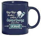 Einschulungsgeschenk Erstklässler Kaffeetasse Kaffeebecher Bye Bye Kindergarten - Große Jungs, Größe: onesize,blau