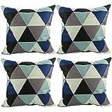 Luxbon Conjunto de 4 Fundas Cojín Almohada Lino Duradero Figura Geométrica Decorativos para Sofá Cama Coche 45x45 cm