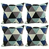 Luxbon 4er Set modern Geometrische Dreieck Leinen Kissenbezug Kissenhülle Sofakissen Pillowcase Haus Auto Deko 18 x 18 ''