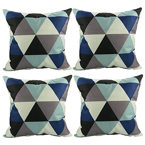 Luxbon 4er Set modern Geometrische Dreieck Leinen Kissenbezug Lendenkissen Wurfkissenbezug Pillowcase Cafe Haus Auto Deko 18 x 18 ''