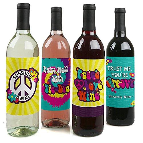 60er Hippie-1960er Groovy Wein Flasche Label Aufkleber-Set von 4
