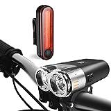 LED Fahrradlicht Set, Degbit StVZO Zugelassen USB Wiederaufladbare LED Fahrradbeleuchtung Set, Fahrradlampe Set inkl, LED Frontlichter Frontlich und Rücklicht, 70 Lux Akku USB Aufladbare Fahrradlichter