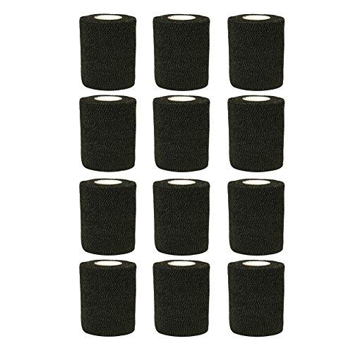 Venda–12rollos x 7,5cm x 4,5m Vet Wrap Vendas de primeros auxilios para mascotas/Gatos/Perros Negro negro