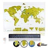 Amazy Weltkarte zum Rubbeln XXL inkl. Rubbelchip + Gratis-Packliste (PDF) - Große Rubbel-Landkarte als schöne Erinnerung an bisherige Reisen | Made in Germany (Weiß | 84 x 59 cm)