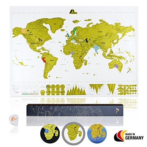 Amazy Weltkarte zum Rubbeln XXL inkl. Rubbelchip + Gratis-Packliste (PDF) - Große Rubbel-Landkarte als schöne Erinnerung an bisherige Reisen   Made in Germany (Weiß   84 x 59 cm)