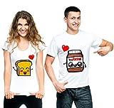 t-shirteria Coppia T-Shirt San Valentino Pane e Cioccolata - Idea Regalo per Il Tuo Lui/la Tua lei