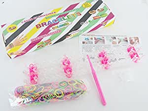 Kit Complet Rainbow Loom Bands - DIY Création Bracelet Elastique - 600pcs + Appareil + Crochet + Clips