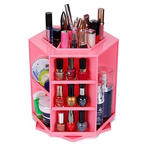 Saking 360 Rotierenden Einstellbare Spinning Große Kapazität Make-Up Veranstalter, Regal Arbeitsplatte Kosmetik Veranstalter Box (Rosa)