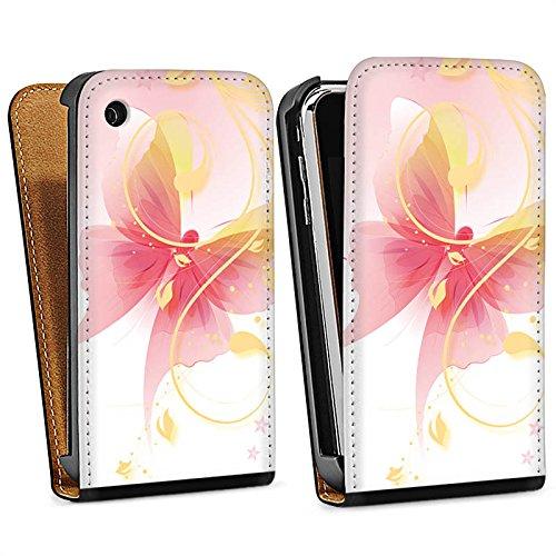 Apple iPhone 5 Housse Étui Silicone Coque Protection Papillon Ornement Papillon Sac Downflip noir