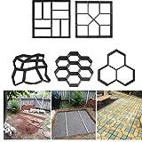Oulensy 1Pc 7 Panal alveoladas DIY de moldes de plástico Fabricante de Ruta de pavimentación Manual de Ladrillos de Cemento Moldes Jardín Camino de Piedra moldes de hormigón para el jardín de