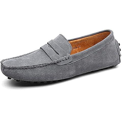 Shenn Hommes Minimalisme en Passant Conduite Chaussures Gris Suède Flâneurs 2088 EU41