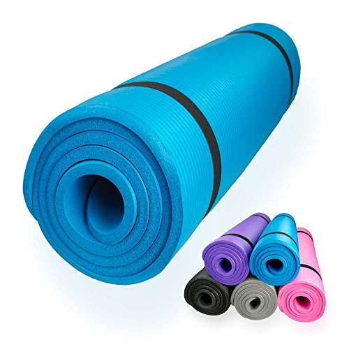 diMio Yogamatte / Pilatesmatte 185 x 60 cm, 5 Farben / 2 Stärken, rutschfest (Skyblue, 185 x 60 x 1.5 cm)