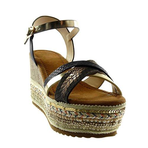 Angkorly Chaussure Mode Sandale Mule Lanière Cheville Plateforme Folk Femme Fantaisie Multi-Bride Peau de Serpent Talon Compensé Plateforme 8.5 cm Noir doré