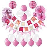 Ciaoed Geburtstag Dekoration, Happy Birthday Girlande mit Luftballons Latexballons und Wabenbälle Papier für Geburtstag Dekoration (pink)