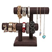MyGift 2 Tier Brown Woven Designer Series T-Bar Bracelet Watch Jewelry Stand Display