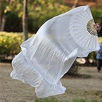 Danza Del Vientre Abanico De Seda Real Costuras De Bambú Entrenamiento De Rendimiento Hecho A Mano Elástico Blanco Brillante 1.8M Largo L + R,L+R