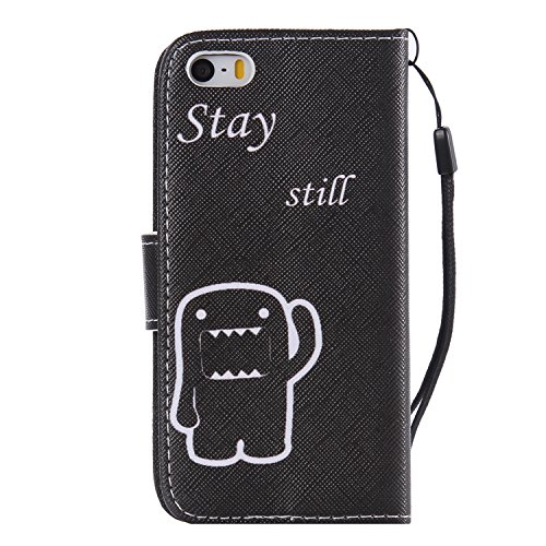 Hülle für iPhone SE, Tasche für iPhone 5 5S, Case Cover für iPhone 5 5S SE, ISAKEN Malerei Muster Folio PU Leder Flip Cover Brieftasche Geldbörse Wallet Case Ledertasche Handyhülle Tasche Case Schutzh Bleiben Bewegungslos