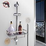 PHASAT Edelstahl Duschablage zum Hängen,badezimmer duschkorb mit Doppelt Halter für Duschkopf,sogar mit Haken und Handtuchstange,ohne Bohren zu montieren,geeignet für alle Durchmesser von 19 bis 25mm Runde Duschstange