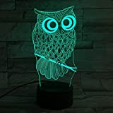 Lámpara de mesa, Heimdall 3d 7colores Lámpara LED y regulable Luz nocturna con óptico acrílico luz escalera placa y plástico ABS Base Touch Control