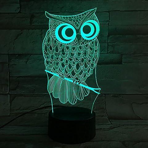 Tischlampe, Heimdall 3D Lampe 7 Farben LED Lampe und dimmbare Nachtlicht mit optischer Acryl Lichtleiterplatte und ABS Kunststoff Basis Touch Control (Eule)
