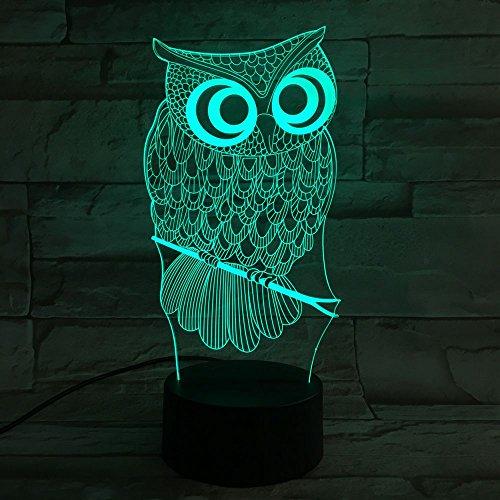Lampada da tavolo, Heimdall 3d lampada 7colori LED lampada e dimmerabile luce notturna con sensore ottico acrilico luce circuito e ABS plastica Base Touch Control 3D gufo