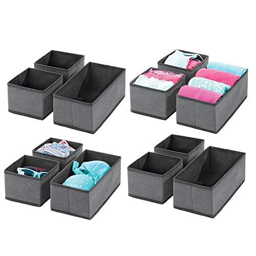 mDesign 12er-Set Aufbewahrungsbox – atmungsaktive Stoffbox für Socken, Unterwäsche, Leggings etc. – vielseitige Schubladen Organizer für Schlaf- und Kinderzimmer – dunkelgrau/schwarz