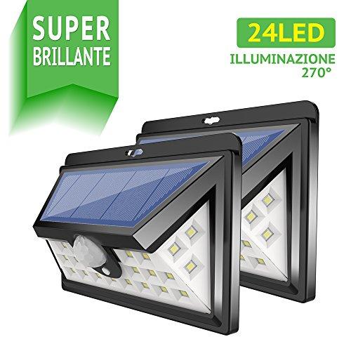 Luce Solare Led Esterno [24LED x 2], Gran\'t Luci Solari IP64 Impermeabile 270° Lampada LED Solari Parete con Sensore di Movimento per Giardino, Vialetto, Percorso e Cortile
