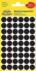 Avery zweckform ø12mm pastilles noir 270 étiquettes
