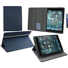 Emartbuy Woxter QX 109 Tableta PC 10.1 Pulgadas Universal ( 9 - 10 Pulgadas ) Dark Azul PU Cuero Ángulo Múltiples Ejecutivo Folio Funda Carcasa Gris Interior Con Ranuras Para Tarjetas + Lápiz Óptico