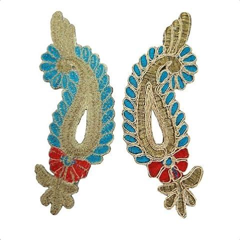 Azul Turquesa Real metálico apliques vestido de parches de costura Craft India