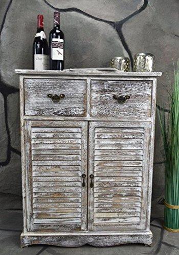 Livitat Kommode Schrank mit Schubladen Landhaus Shabby Chic Vintage Weiß Braun LV1007