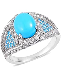 Sleeping Beauty Turquoise , Neon Apatite, White Zircon Ring in Rhodium Plated Sterling Silver 4.5 Ct