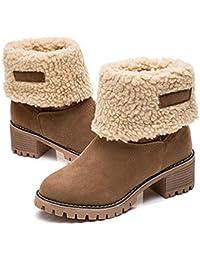 FCGV Botas Gruesas de Las Mujeres de otoño Invierno Botas Gruesas Zapatos  cálidos Tacones Gruesos - 8edc3a85481c