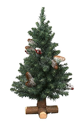 Kaemingk 683511 Frosted Sherwood Mini Baum mit Holzfuß, Soft Nadel PVC, innen, Höhe 60 cm