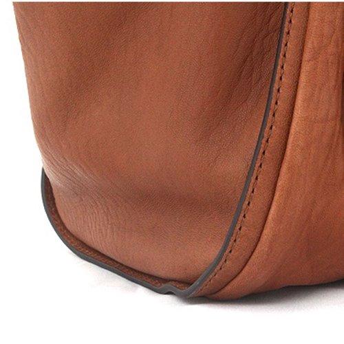 Violett - RUCHE Leather Handbag DARK-GREY