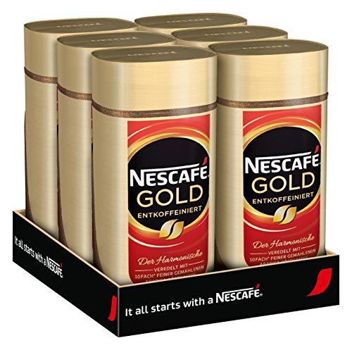 NESCAFÉ Gold Entkoffeiniert, löslicher Kaffee, 6er Pack, 6x100g Glas