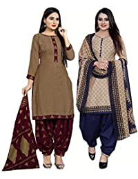 Rajnandini Women's Brown and Beige Cotton Printed Unstitched Salwar Suit Material (Combo Of 2) (Free Size)