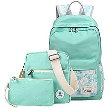 Q.KIM Mochila de Lona Casual Backpack Bolsas Escolares Bolsas de Viaje Estilo Vintage y Moda para Chicas / Rucksack + Bolso del mensajero + Monedero