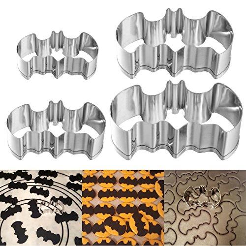 Ounona Ausstechformen in Form einer Fledermaus, für Halloween-Party, 304-Edelstahl-Set mit 4Größen