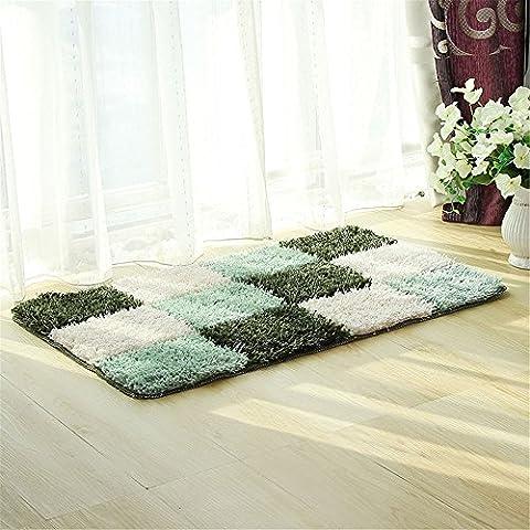 Tapis de bain, CAMAL Polyester Color Carrés Absorption d'eau Tapis de Bain Tapis de Cuisine 50X80 (Vert)